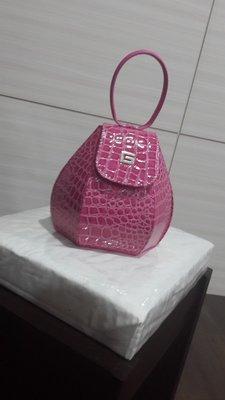 泰國代購 泰國漆皮鱷魚紋手提包 - 桃紅