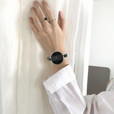 薇安手錶集市~法國小眾手錶女生大學生氣質簡約高中正韓黑色ins風文藝簡單大方