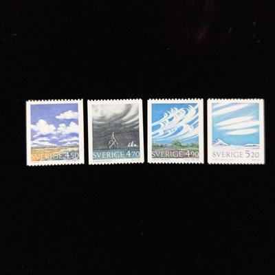 【大三元】歐洲郵票-瑞典郵票-天文科學-新票4全1套-原票無膠發行-上品