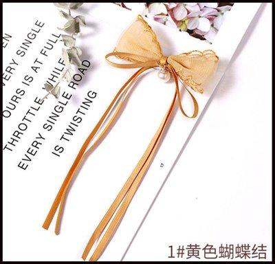 哆啦本鋪 韓國兒童超仙蕾絲蝴蝶結飄帶髮夾女童寶寶公主髮卡夾子小童髮卡女D655