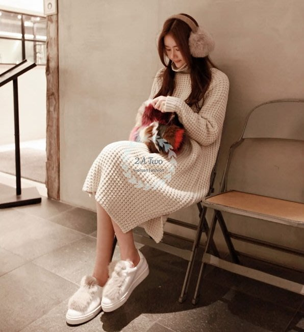 【2A Two】首爾ω 韓高領 厚針織 格子 毛衣裙 連身裙 長洋裝『381018003』