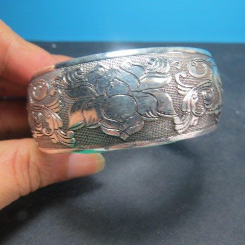 【競標網】高貴時尚西藏藏銀(富貴花開)寬版造型手環(回饋價便宜賣)限量5組(賣完恢復原價200元)