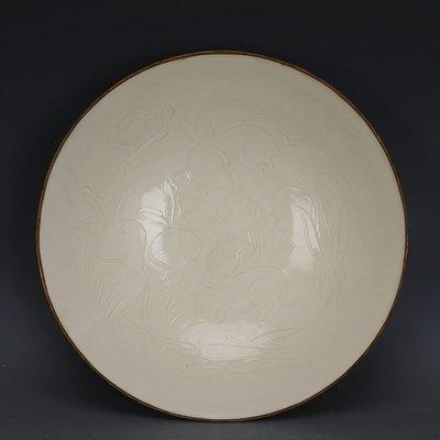 ㊣姥姥的寶藏㊣ 宋定窯雕刻蔬菜兔子紋包金邊大號碗  出土文物古瓷器古玩古董收藏