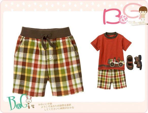 【B& G童裝】正品美國進口GYMBOREE Ribbed Waist Plaid Short咖啡色格子綠短褲6-12m