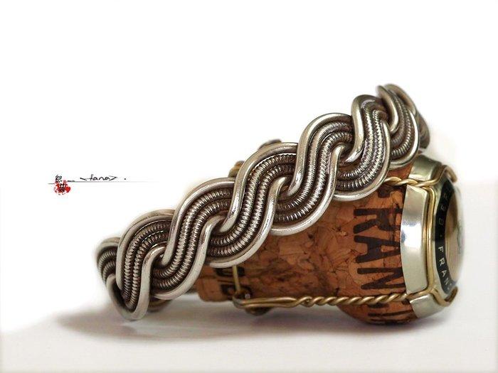 銀囍古董銀飾~老銀手鐲 銀手鏈 四股麻花寬版老銀手鐲 釋出藏品