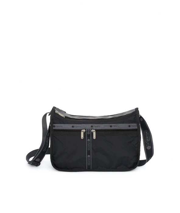 ♥ 小花日韓雜貨 ♥ --Lesportsac 7507 防水包斜背逛街出遊包媽媽包黑色logo背帶款