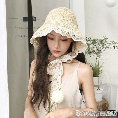 草帽女夏蕾絲系帶沙灘帽小清新海邊度假防曬遮陽帽子日系綁帶韓版