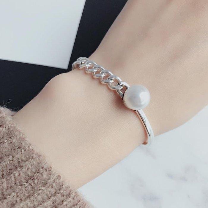 S925鍍銀仿淡水珍珠不對稱手鐲鏈條手鏈鐲子酷炫時尚潮人日韓女 靚伴妳我