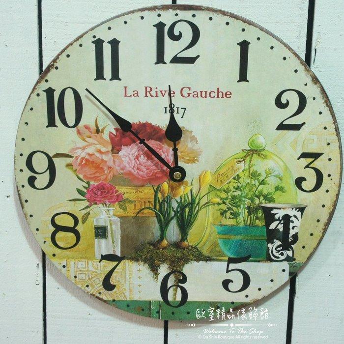 ~*歐室精品傢飾館*~鄉村風格 木製 玫瑰 花卉 盆栽 造型 數字 掛鐘 時鐘 ~新款上市~限量優惠價~
