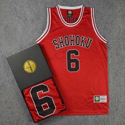 SD正品灌籃高手衣服 湘北高中6號安田靖春籃球服籃球衣背心紅色