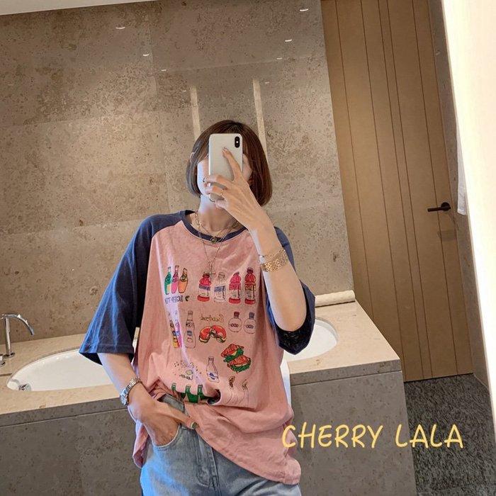 CHERRY LALA  正韓連線。19夏。韓製 Korea 韓國連線 汽水圖案插肩袖拼色寬鬆顯瘦短袖T恤 X06212