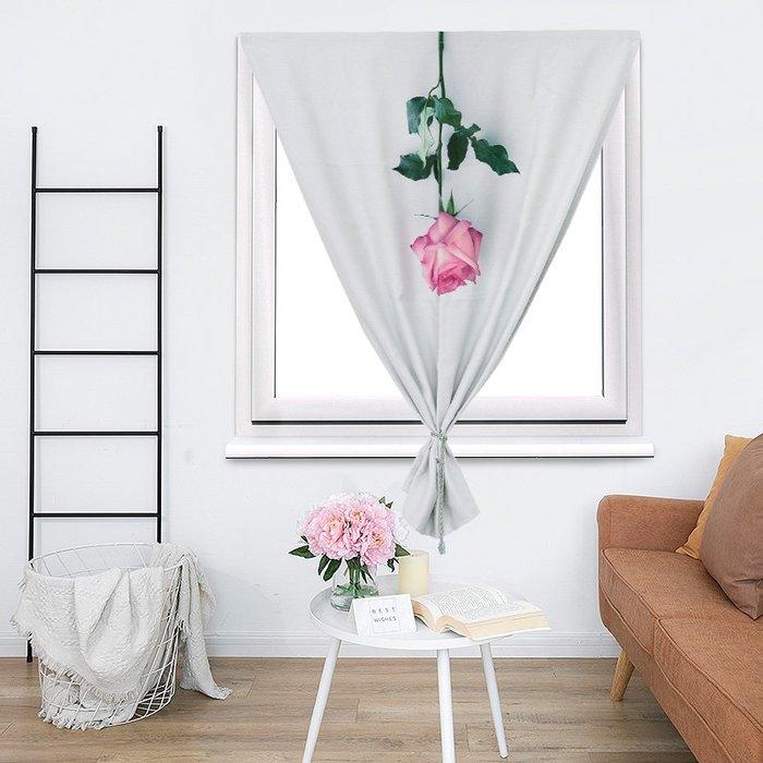 創意 居家裝飾 魔術貼窗簾成品 簡約現代臥室遮光布網紅ins租房簡易小窗簾免打孔