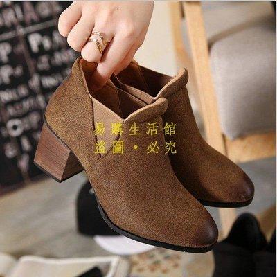 [王哥廠家直销]歐美風真皮馬丁靴女短靴英倫新款短筒粗跟裸靴-黑 灰 棕3539LeGou_1755_1755