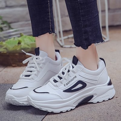 增高鞋-小白鞋女厚底增高鞋運動休閒跑步鞋時尚百搭老爹鞋2019新款網紅鞋