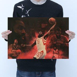 [現貨]詹姆士 哈登 大鬍子 Harden經典籃球明星海報 NBA 球星  臥室宿舍客廳牆畫裝飾畫 復古牛皮紙海報咖啡廳