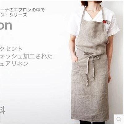 【優上】日本圍裙韓版圍裙亞麻麵料日韓國藝術服務員「下標留言要的顏色」