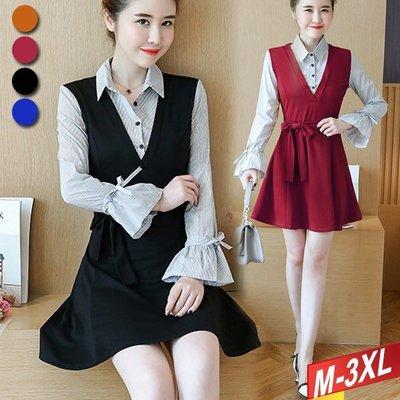 條紋領假二件洋裝+綁帶(4色) M~3XL 【677753W】【+】