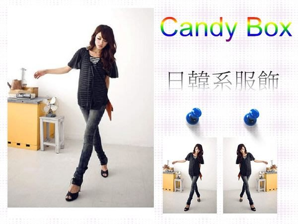 ☆Candy Box☆荷葉袖時尚條紋假兩件上衣 黑 U2321854