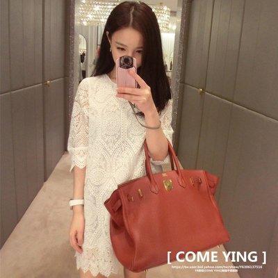 【COME YING】韓國訂單.約會戰服 鏤空蕾絲勾花顯瘦A字寬鬆連身裙/洋裝 白 喜宴 $590