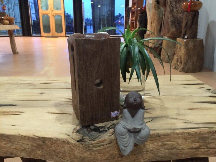 【 檜人檜語 】 青鋼櫟 超風化 筆筒 a1