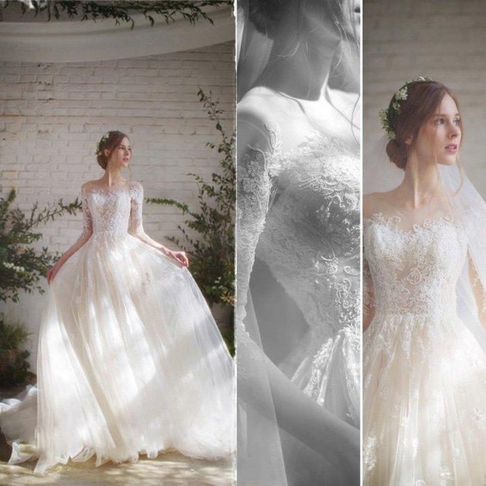 輕婚紗禮服2018新款韓版新娘結婚一字肩長袖拖尾顯瘦齊地森系秋冬