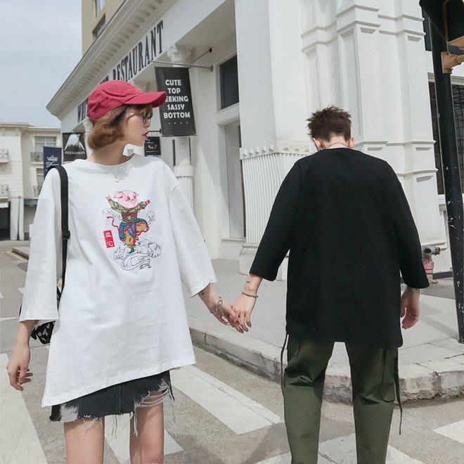 FINDSENSE G6 韓國時尚潮流 2019夏季新款夏裝情侶裝短袖T恤寬鬆五分袖男女短T上衣女裝