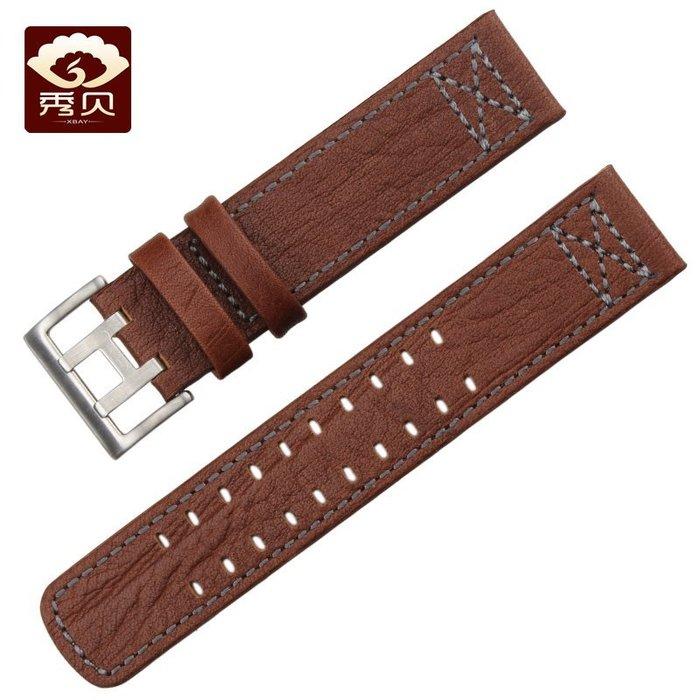 真皮錶帶 適配漢米爾頓Hamilton-卡其-航空系列 男錶帶 22mm