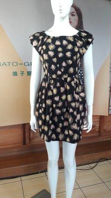 (3件600優惠免運)    韓國製  Honey   Bunch  黑底花色洋裝 SOSO   二手專櫃