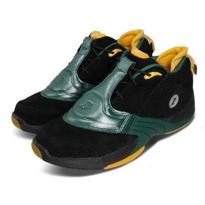=CodE= REEBOK ANSWER V LOW 麂皮籃球鞋(黑綠黃) FX7199 戰神 IVERSON 高中 男
