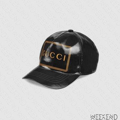 【WEEKEND】 GUCCI 方框 文字 鴨舌帽 棒球帽 帽子 黑色 426887 男女同款