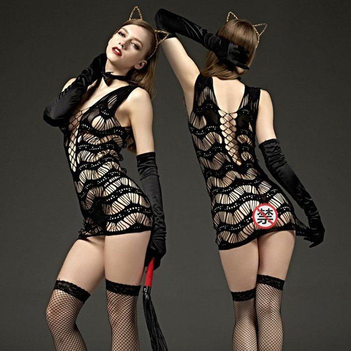 MIX style SHOP【S-791】Rimes 情趣內衣❤黑色條紋包臀短裙鏤空網格連身網衣+長統網襪