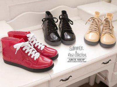 格子舖*【AR811】下雨天也有型 韓版 帆布鞋造型超防水雨鞋 雨靴 帆布鞋 3色