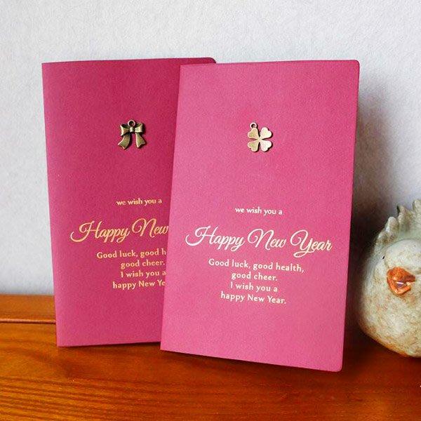新年金屬小豬中國結燙金紅色卡片信封【NY0009】《Jami Honey》
