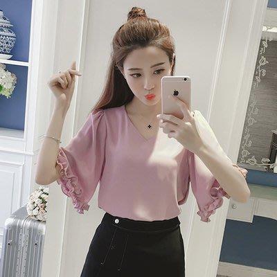 2017春夏女装新款韩版宽松短袖显瘦百搭喇叭袖半袖V领雪纺衫上衣