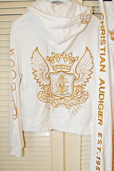 Christian Audigier velour PANTS白色金線繡CA天鵝絨縮口長褲套裝