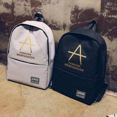 韓版雙肩包男街頭潮流書包日韓帆布初高中大學生背包青少年旅行包