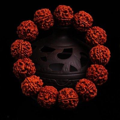 ☜男神閣☞帝王e家 尼泊爾大小金剛菩提子佛珠手串五六瓣紅皮肉紋男女士手鍊