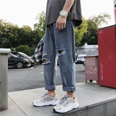 牛仔褲 春秋季新款泫雅直筒老爹女寬鬆闊腿破洞九分女褲子 -全館免