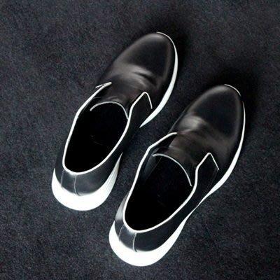 皮鞋 真皮休閒鬆緊帶套腳鞋-黑白撞色時尚百搭男鞋73kv33[獨家進口][米蘭精品]