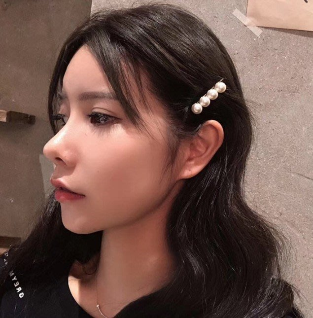 H-223 日韓氣質珍珠髮夾甜美時尚髮夾一字夾女生可愛邊夾秋冬網紅髮飾