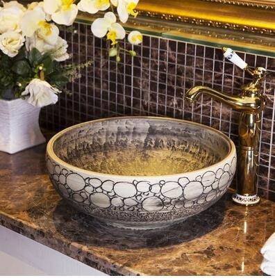 【泥漿2】陶瓷台上盆圓形洗臉盆歐式台盆衛生間洗手盆