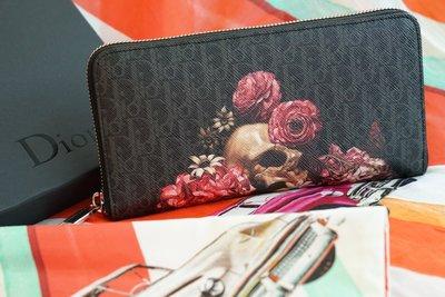 Dior 2VDBC011XLV zipped wallet 骷髏頭拉鍊長夾 黑灰 現貨