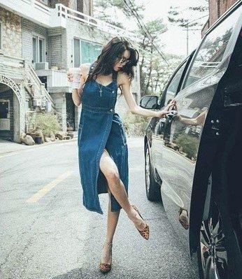 韓國 性感一片式牛仔洋裝 現貨