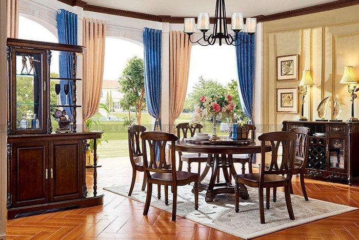 [紅蘋果傢俱] 601美式英倫風系列 圓餐臺 餐桌 桌子  (另售餐椅)數千坪展示