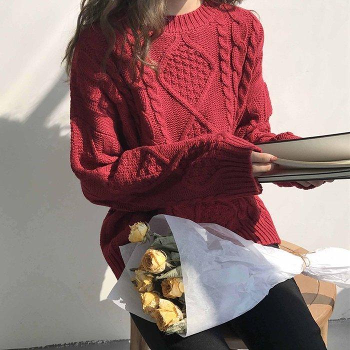 Copy&Paste【C57】韓國訂單.自留推薦寬鬆慵懶感顯瘦修飾麻花編織花紋紅色毛衣加厚針織衫上衣4色 (預購)