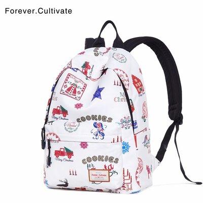 @星雲小鋪Forever cultivate印花雙肩包女新款個性休閑背包中學生書包