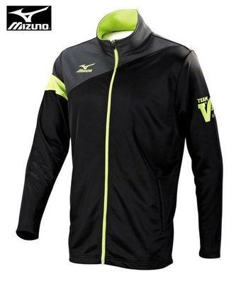 (2XL)【MIZUNO 美津濃】針織運動外套 合身版  舒適 透氣 / 黑綠 32TC553209 C32