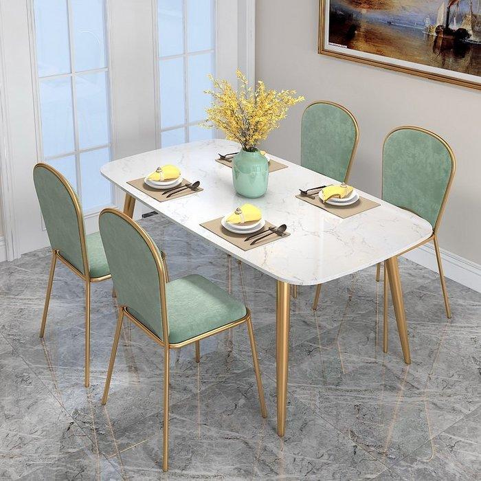 一桌四椅北歐大理石餐桌椅組合現代簡約輕奢小戶型家用港式飯店餐廳餐桌椅WY