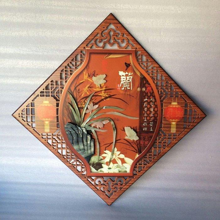 客廳中式古典玉畫掛畫四條屏玉雕畫裝飾畫菱形浮雕壁畫 蘭 放舊品  玉畫13