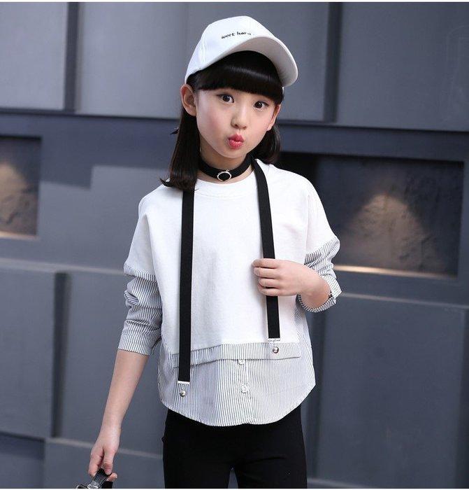 [C.M.平價精品館]120現貨 黑/白色超有型設計款假兩件長袖T恤 大童/小童